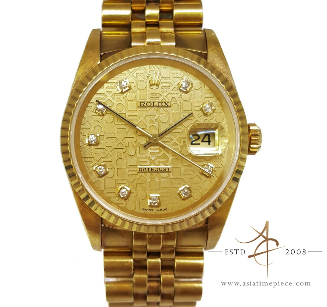 eb06879b21f6 Rolex Datejust 18k Solid Gold Diamond Dial Vintage Watch Ref 16238 ...