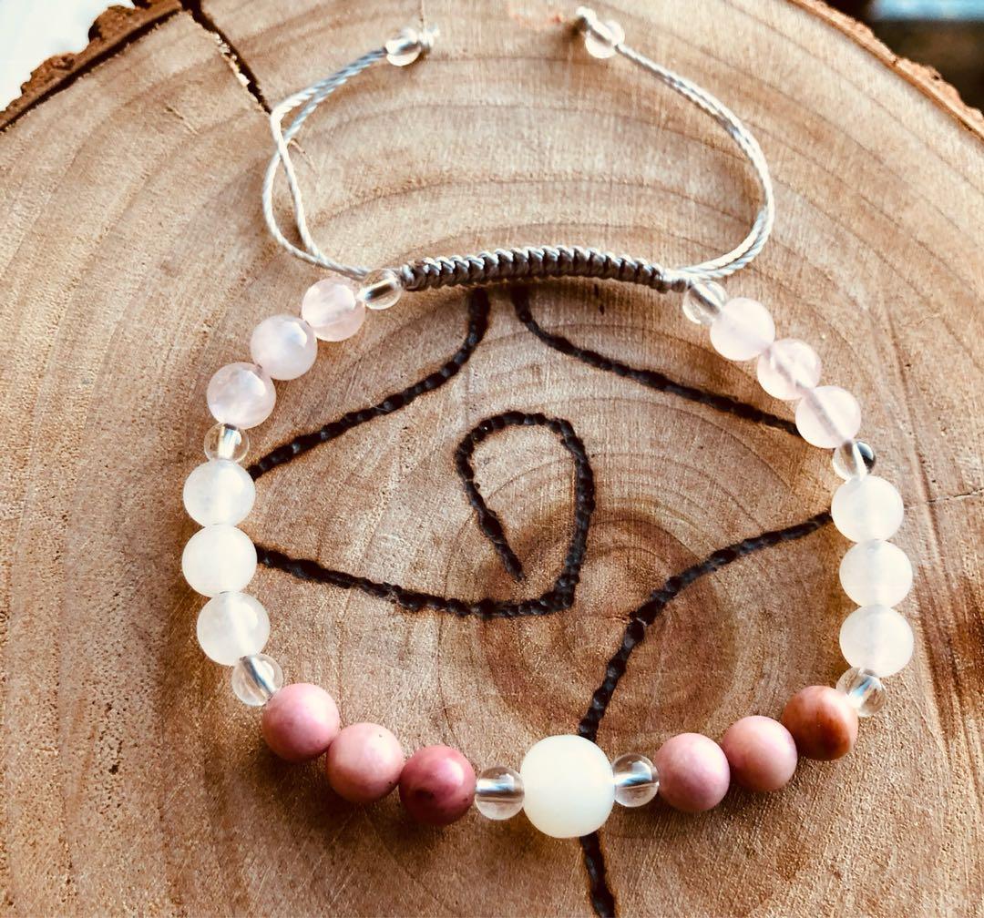 Rose Quartz, Moonstone and Pink Tourmaline Healing. Crystal Bracelet