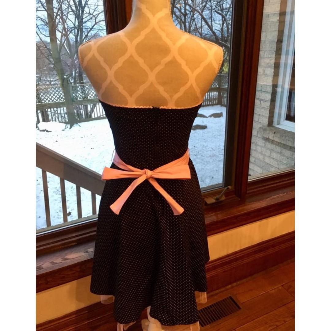 Ruby Rox Strapless Pink & Black Polka Dot Full Skirt Cocktail Dress (Size 11)