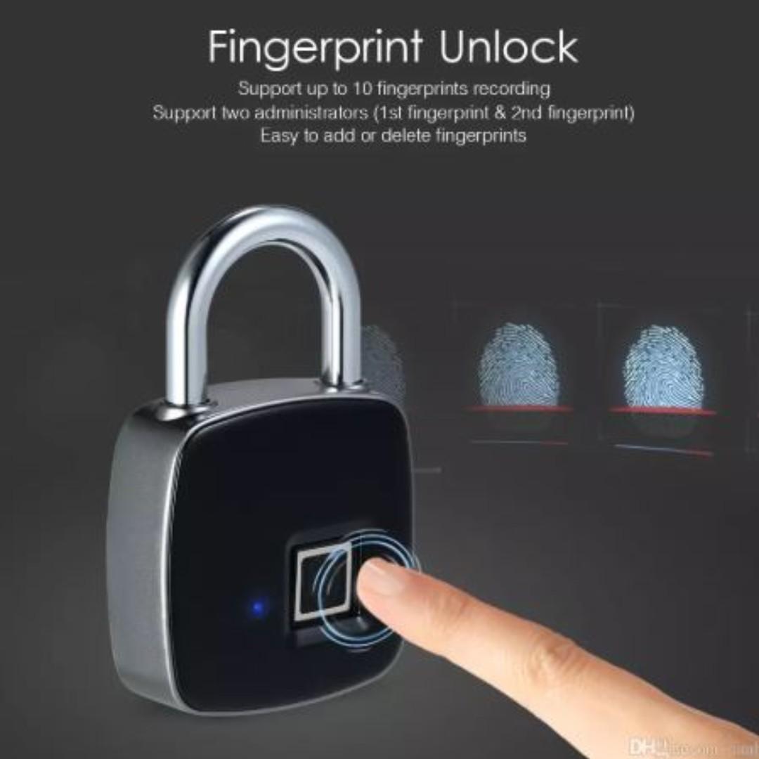 Smart Fingerprint Identification Electronic Anti-theft Waterproof Lock -  Black