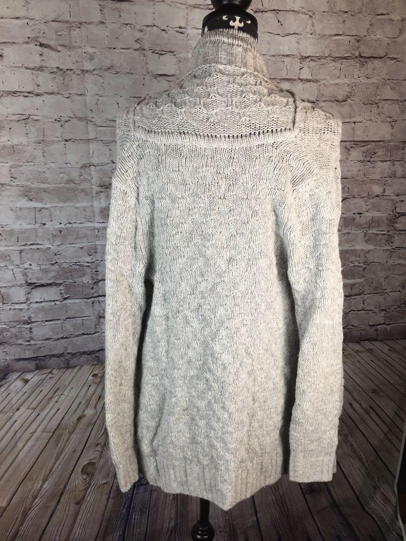 Talula Long Cardigan Sweater XS Light Grey Cable Knit Lambswool Cashmere