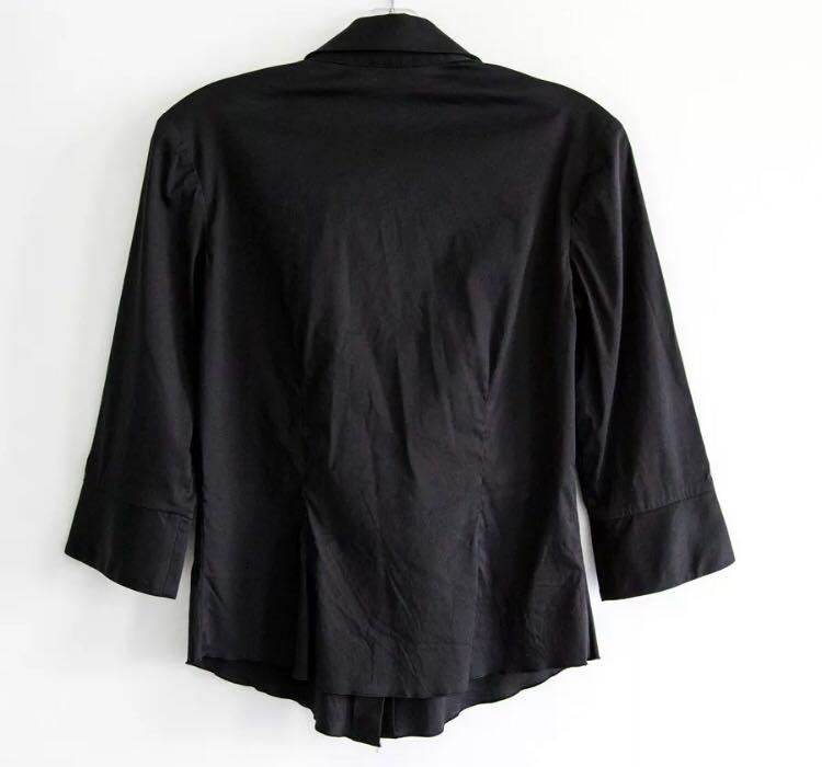 Trina Turk M medium black stretch cotton shirt with bow belt