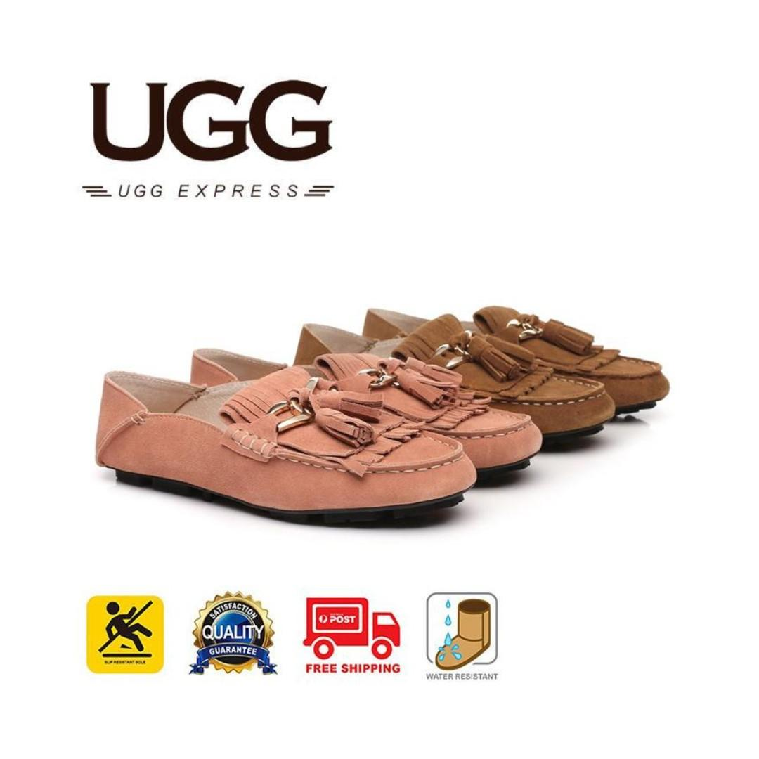 UGG Ladies Sussie Moccasin, Suede Upper, Water Resistant, Heel Folded Down As A Slipper