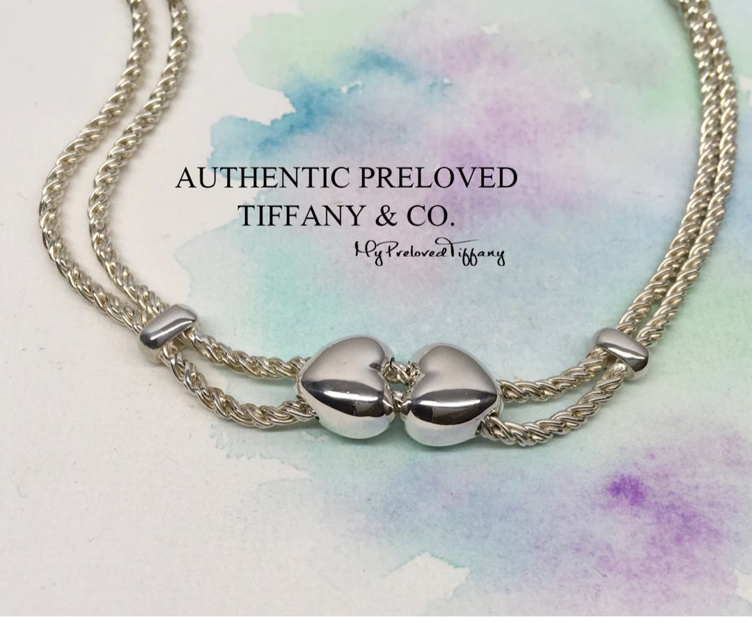 3ad0cbc97 Vintage Authentic Tiffany & Co. Sliding Double Heart Rope Slider ...