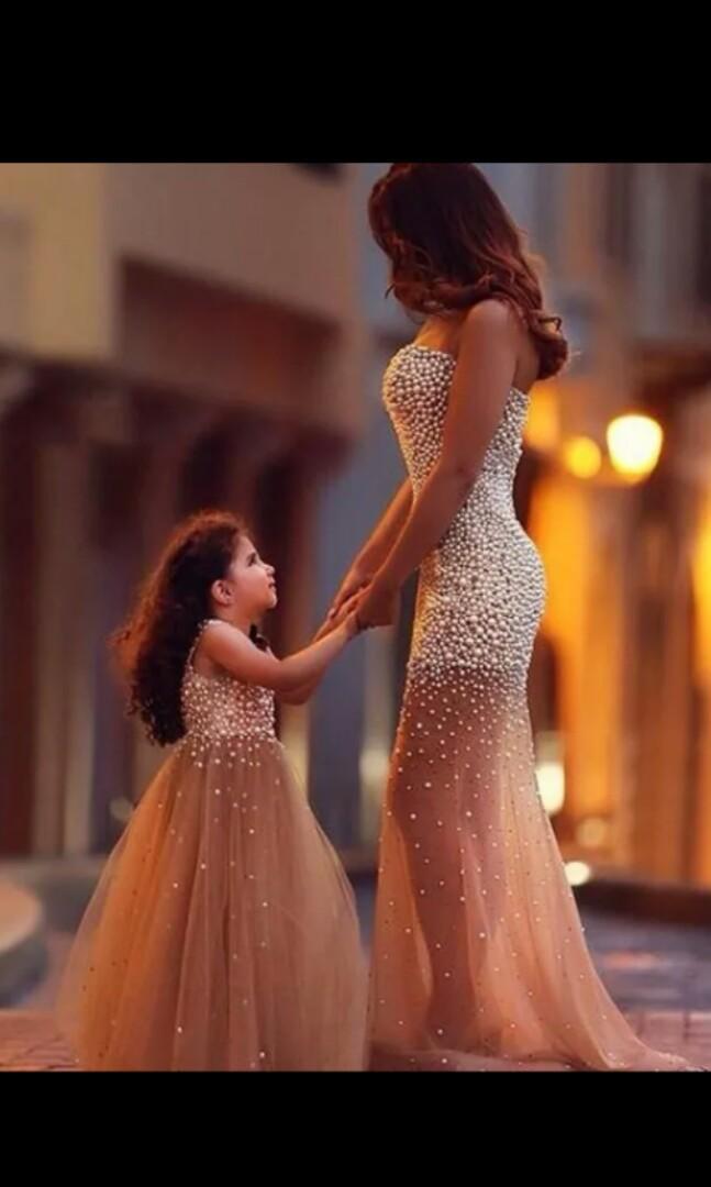Mother Daughter Wedding Gown Princess Dresses 2pcs Kids Size 12