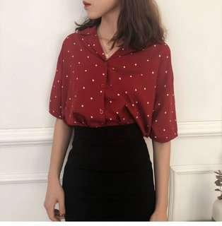 🚚 Vintage Red Collared Shirt with White Polka Dot