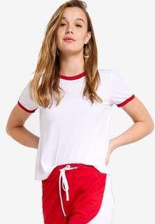 🚚 Zalora Basic Contrast Collar Crew Neck Tee