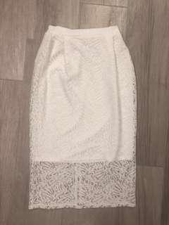 白色碎花蕾絲長裙 white lace long dress 日本 japan elegant #跟我一起半價出清