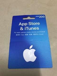 (已售)Apple store and iTunes Gift Card$200
