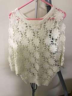 100% new White Embroidery knitted Top 全新白色通花針織上衣