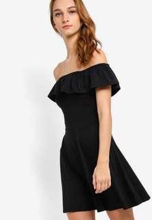 🚚 Black Flounce Off Shoulder Skater Dress