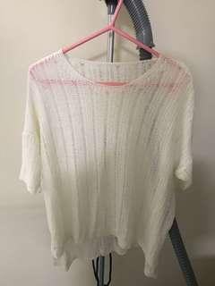 100% new white knitted top 全新白色針織上衣