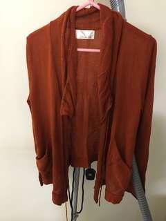 100% new dark orange knitted cardigan 全新深橙色針織外套