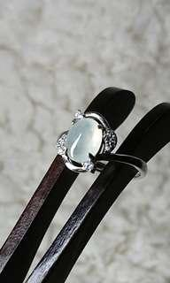 Icy Jelly Jadeite (Myanmar Jade) Cabochon on 925 Silver Ring.