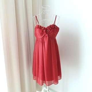 Red Bustier Strappy Dress