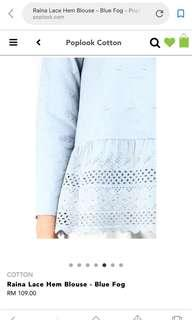 Poplook Cotton Raina Lace Hem Blouse (White)