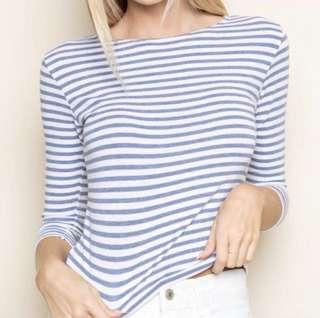 SALE Brandy melville blue white stripe may top