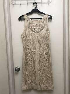 Sue Wong Champagne Embroidered Lace BodyCon Formal Dress Size L