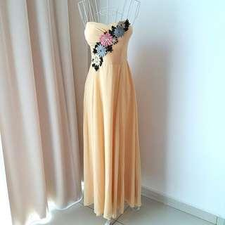 Doublewoot Pastel Yellow Bustier Dress with Embroidery