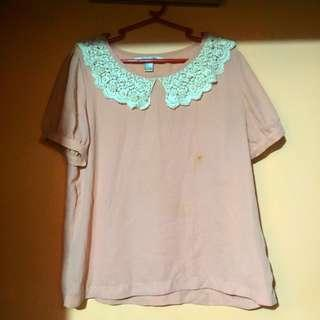 Forever 21 Peach/Pink Top Blouse with White Lace Collar