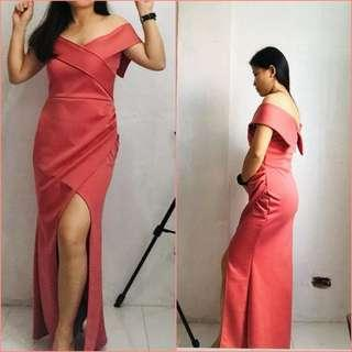 Apartment 8 inspired overlap bodycon off shoulder long gown / long dress / evening gown