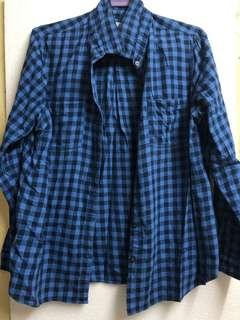 Blue And Black Checkered Blouse / Long Sleeves