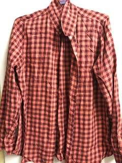 Red and Black Checkered Blouse/Long sleeves