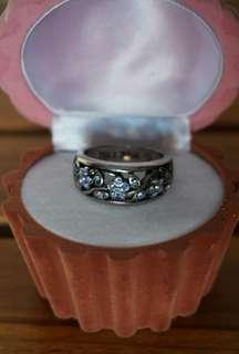 Blue and Silver Flora Ring - Size 9