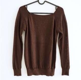 brown sheer sweater