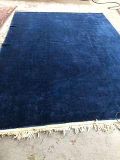 Royal or navy blue handmade wool rug 9x12ft ft