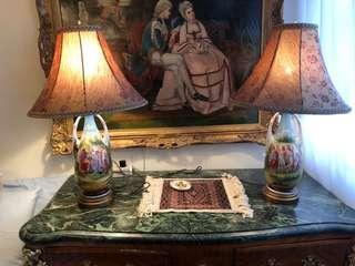 Pair of antique Austrian hand painted porcelain lamp pair