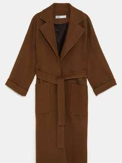 Zara 100% Wool Camel Belted Double Breasted Coat (Size S)