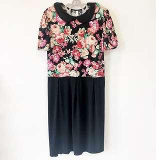 Red & Pink Floral Collar Dress