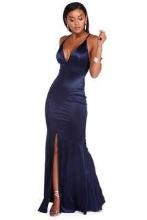 Prom Dress - Navy Satin Gown