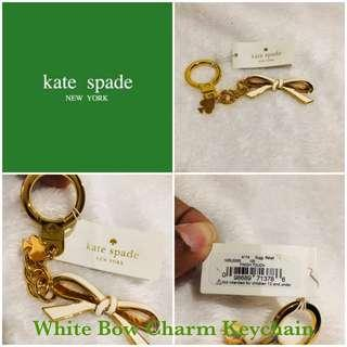 Kate Spade White Bow Ribbon Key Chain