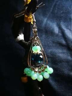 Dangling Silver Earrings with Swarovski and Aventurine (semi-precious) stones