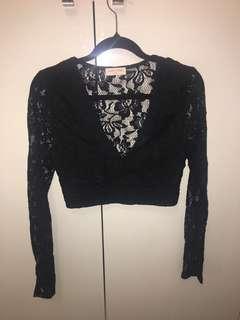 Long Sleeve Lace Crop