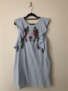 Zara blue dress with embroidery