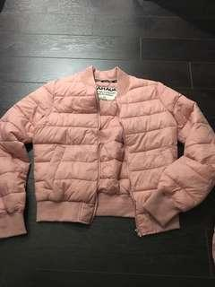 Pink Puffer Jacket With Pouch Size Small