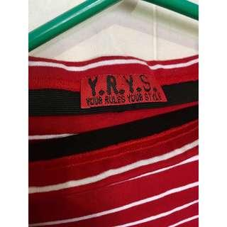 Red and white stripe pencil skirt
