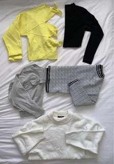 Zara, French connection, glassons long sleeved shirts jumpers BUNDLE!
