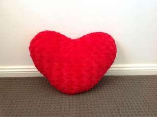 Red Fluffy Heart Pillow