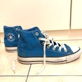 🚚 Converse 藍色 燈芯絨材質 高筒 帆布鞋 9成新