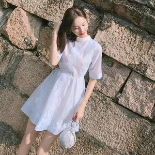 Korean Dress Blue Pink Chiffon beautiful casual dress