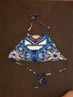ICE Fashion Tie-up Aztec Pattern Crop Top