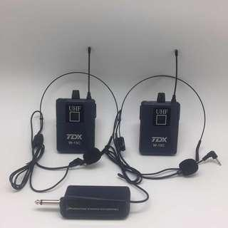 TDX W-15C UHF Wireless Microphone (10 selectable channel) - two Bodypack with HeadClip Mic