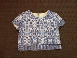 Blue and White Oriental Patter Top