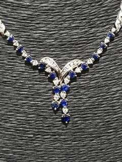 🚚 18K White Gold Diamond and Sapphire Necklace