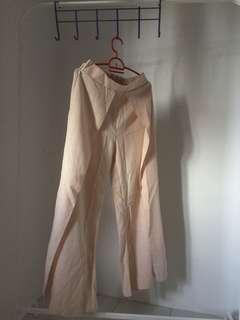 Skirt Pallazo Grid Nude Pants