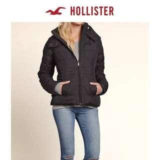 Hollister女顯瘦短款羊羔絨內襯羽絨黑色大衣大䄛棉服外套HCO Lightweight Puffer Coat Jacket A&F Abercrombie & Fitch AF AEO CK